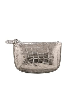 faye leather purse pewter croc