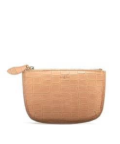 faye leather purse camel croc