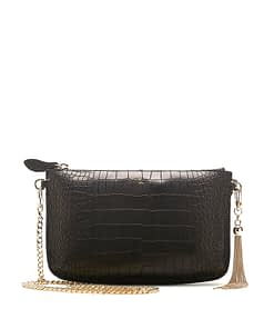 IVY CHAIN CROSS BODY CLUTCH BLACK CROC