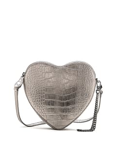 heart shape cross body bag pewter metallic croc