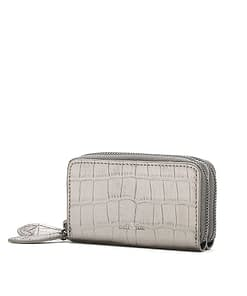 mini leather purse pewter metallic croc