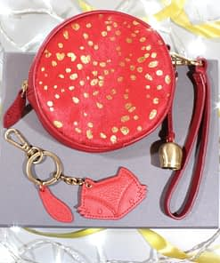 mini wristlet clutch in garnet printed 'pony' leather and natural leather fox keyring gift box