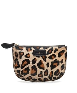 leopard print leather purse mini pouch