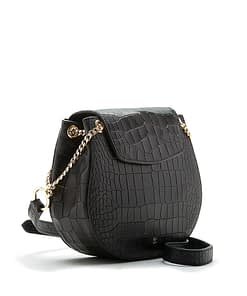 cross body shoulder saddle bag black leather