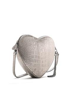 amour heart shape wristlet clutch pewter metallic croc