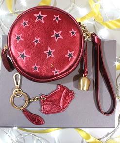 mini wristlet clutch and fox keyring gift box in garnet metallic leather