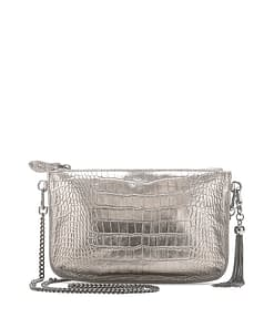 IVY CHAIN CROSS BODY CLUTCH PEWTER CROC