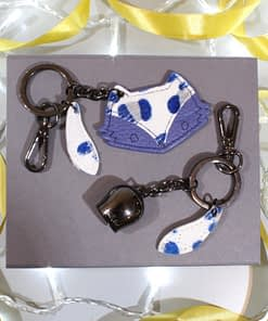 fox and belle keyring gift box blue leopard