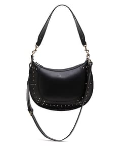 studded black leather cross body shoulder bag
