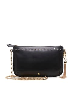studded black leather clucth with metal tassel and chain cross body strap