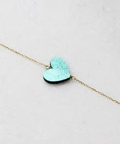 emerald green leather heart necklace gold