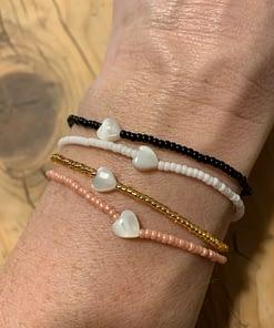 mother of pearl heart bracelet
