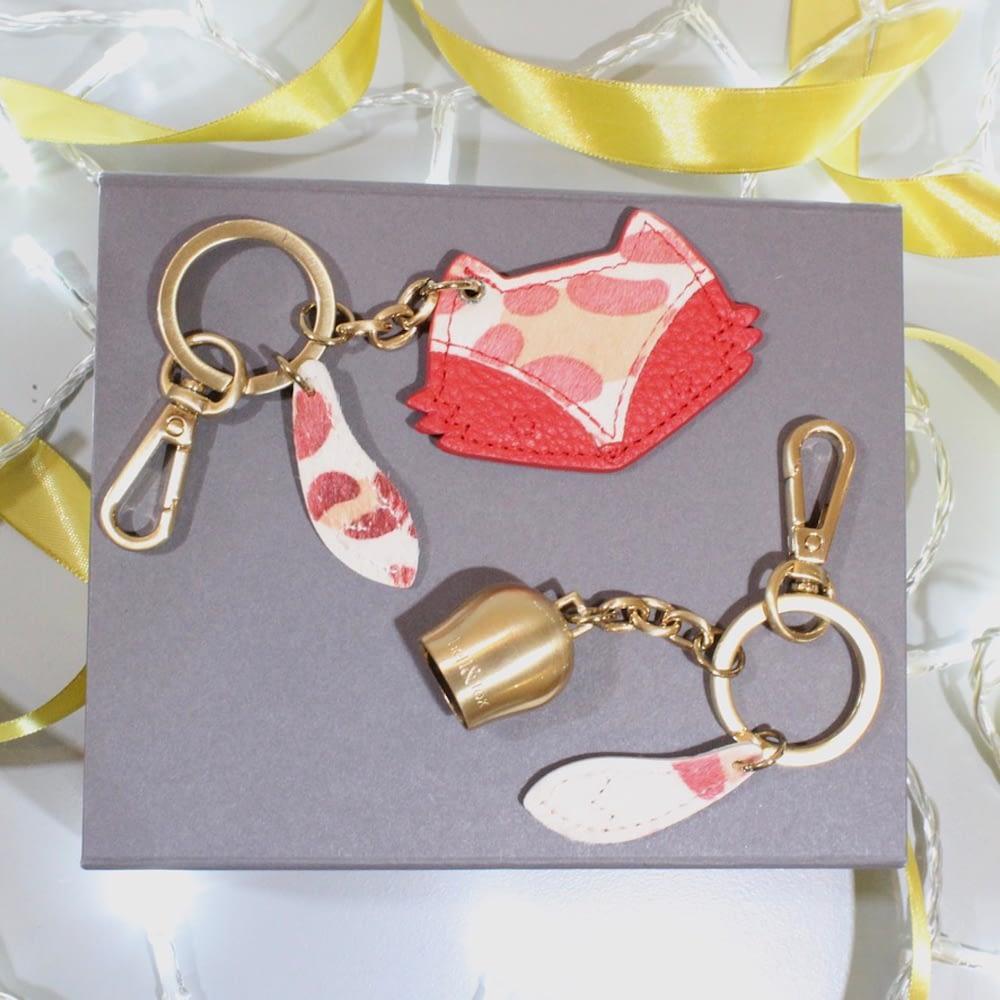 poppy leopard leather keyring gift box