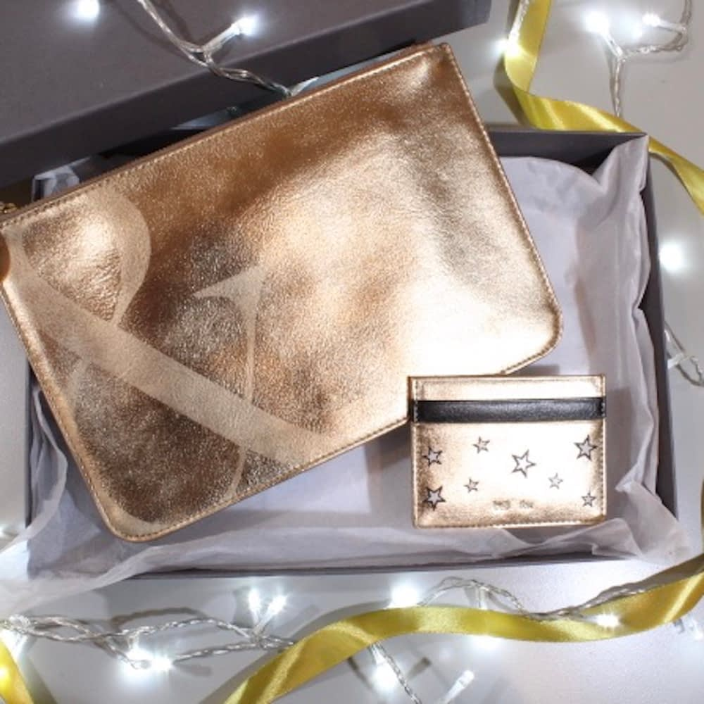 gold leather clutch and card holder gift box