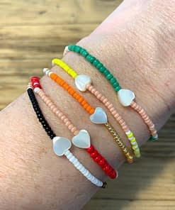 multi stripe seed bead bracelets with mother of pearl heart