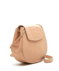 side details saddle cross body bag camel croc