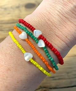 rainbow heart bracelets in neon orange, sunshine yellow, apple green and poppy red