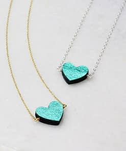 emerald green leather heart necklace