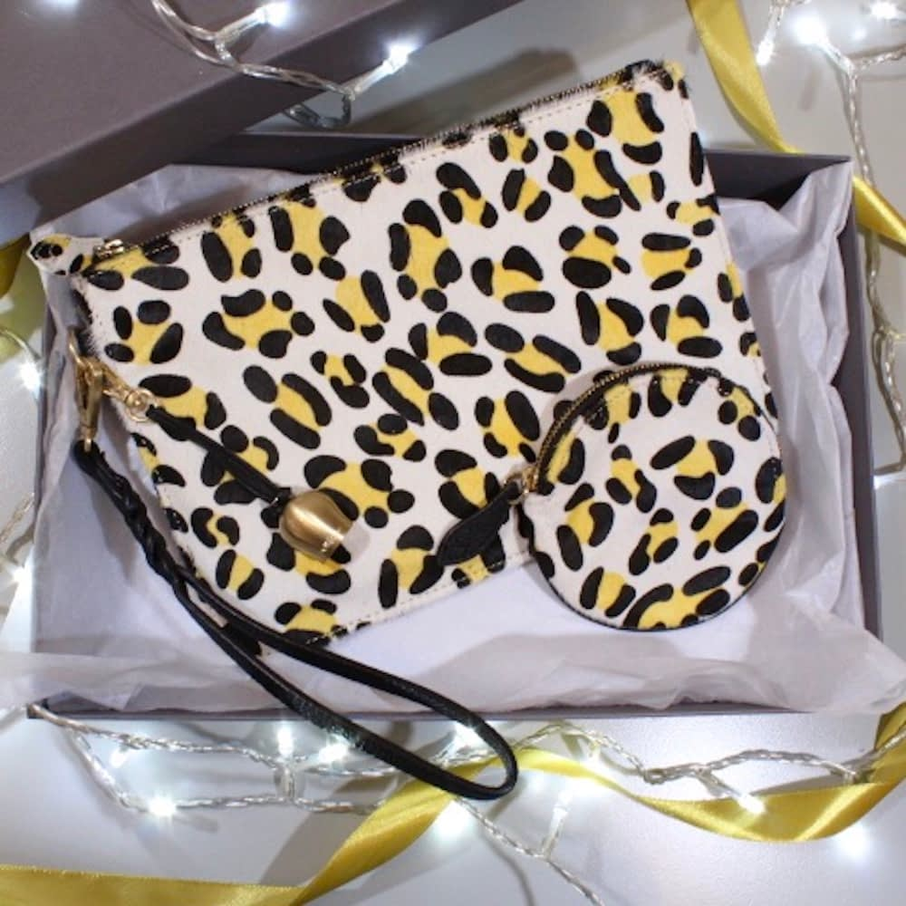 leopard printed 'pony' leather wristelt clutch and coin purse gift box