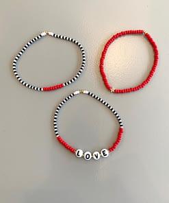 LOVE letter stretch bracelet trio in red