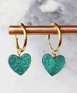 emerald green leather heart hoops in gold