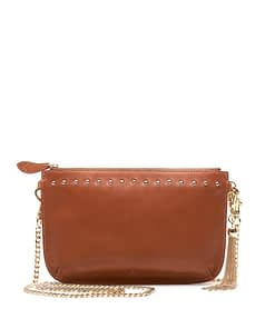 tan studded nappa leather with metal tassel and chain cross body strap