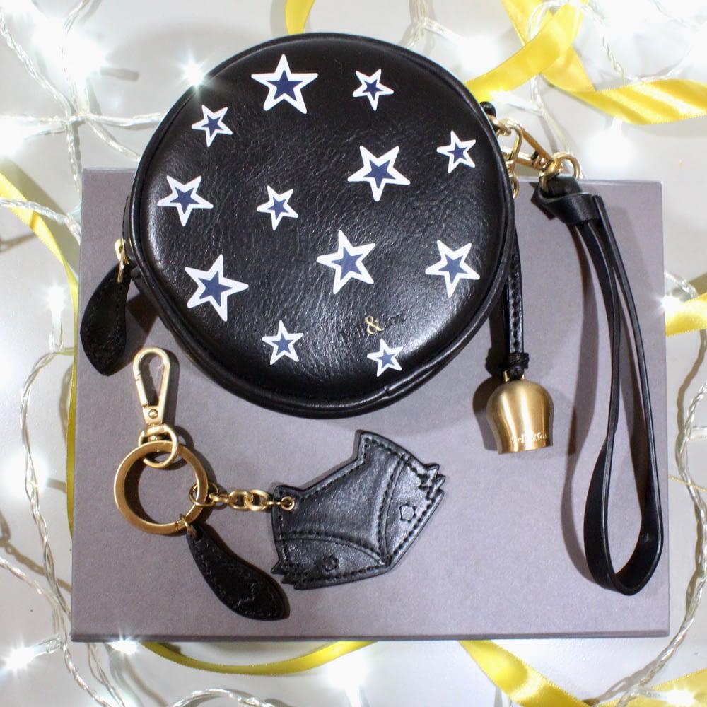 mini wristlet clutch fox keyring gift box black metallic