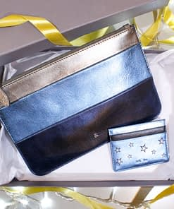 metallic stripe clutch and card holder in metallic blue leather