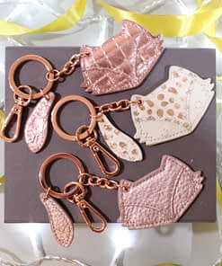 FOX LEATHER KEYRINGS IN ROSE GOLD MIX