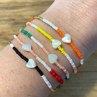 striped mother of pearl heart bracelets