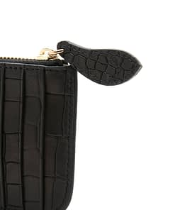 black croc credit card purse