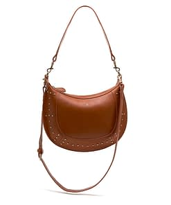 tan studded leather cross body shoulder hobo bag