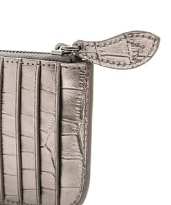 metallic croc credit card holder