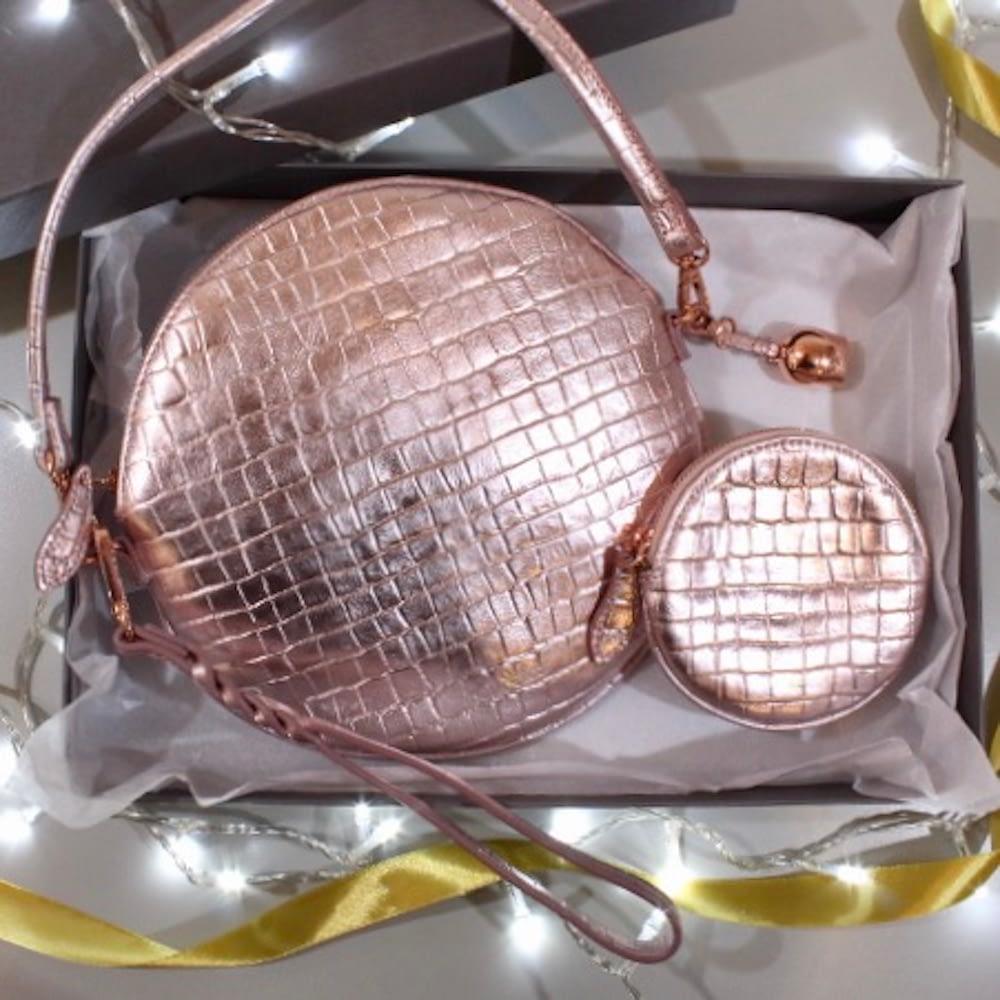 rose gold metallic cross body bag and coin purse