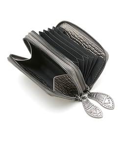 pewter metallic leather mini purse