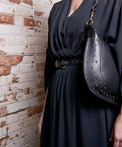 black nappa leather studded hobo shoulder bag