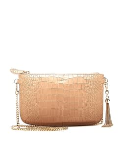 IVY chain cross body clutch camel croc
