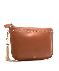 studded tan nappa clutch