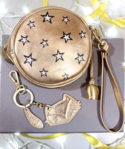 mini wristlet clutch fox keyring gift box in gold