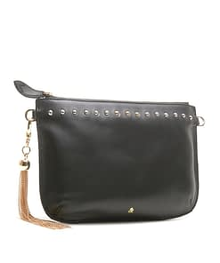 black nappa metal tassel clutch cross body bag with stud detail