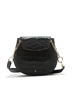 black croc saddle bag cross body bag